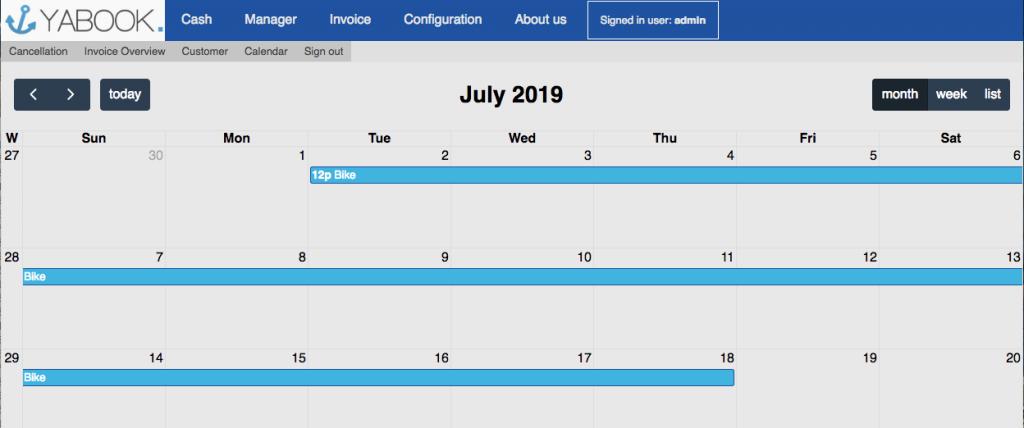Calendar rent